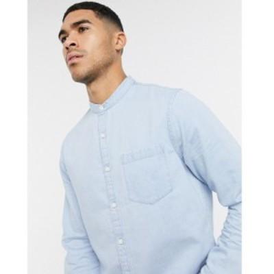 ニュールック New Look メンズ シャツ デニム トップス long sleeve grandad denim shirt in blue ブルー