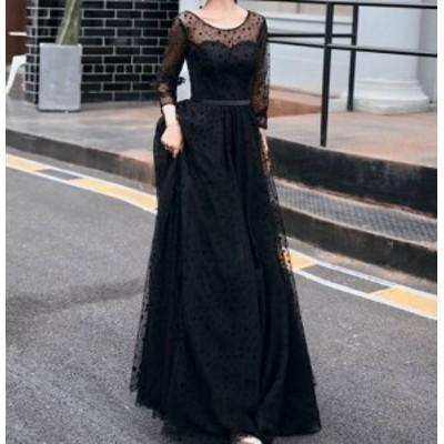 結婚式 ロング演奏会ドレス  スレンダー お呼ばれ マキシ丈 黒 Aライン 13157 ドレス ウェディングドレス 二次会 袖あり 発表会 レース