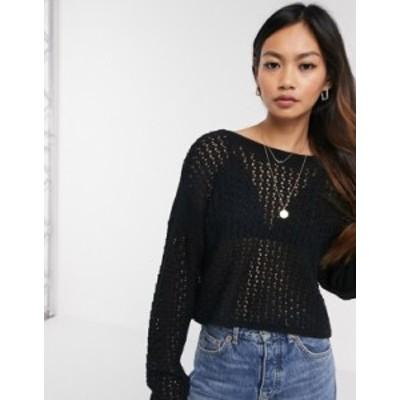 エイソス レディース ニット・セーター アウター ASOS DESIGN mock crochet tie back sweater Black