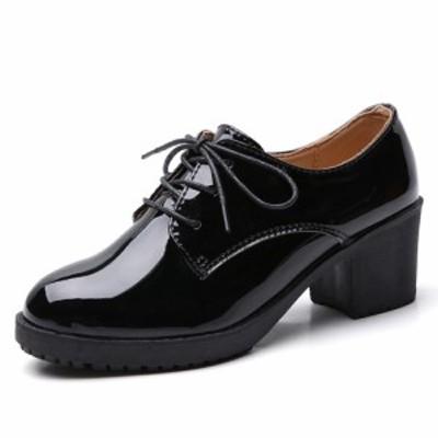 オックスフォード エナメル レディース 革靴 本革 レザー 通学 通勤 レースアップ  パンプス シューズ 靴 おじ靴 ヒール