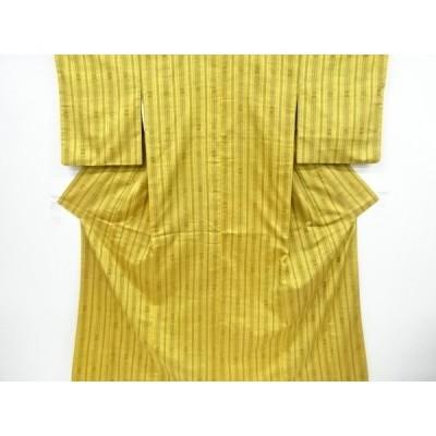 宗sou 縞に花模様織り出し手織り真綿紬着物【リサイクル】【着】