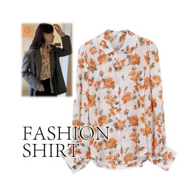 シャツ トップス オーバーサイズ 襟付き 花柄 レディース 春夏 かわいい きれいめ カジュアル ベージュ