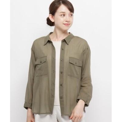 smart pink/スマート ピンク 【手洗い可】トランスペアレントシャツジャケット カーキ(027) 40(M/ミセス)