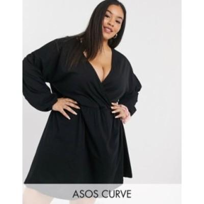 エイソス レディース ワンピース トップス ASOS DESIGN Curve Wrap front long sleeve smock dress in black Black