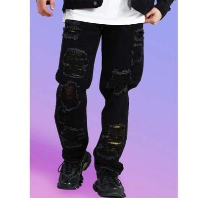 boohoo(ブーフー)BOOHOO ラック スフィット リップ&リペア フェイス ジーンズ デニム ジーンズ パンツ インポートブランド 小さいサイズ