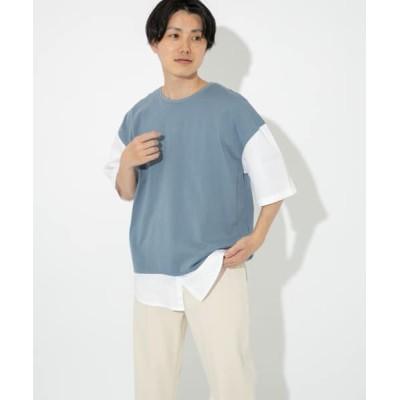 URBAN RESEARCH ITEMS/アーバンリサーチ アイテムズ 布帛切り替えTシャツ BLU M