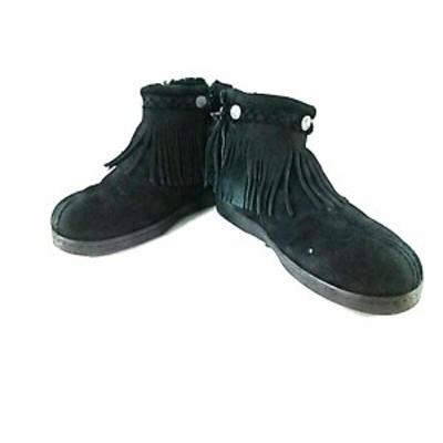【BIG SALE対象】ミネトンカ MINNETONKA ブーツ 7 レディース 黒 フリンジ スエード【中古】