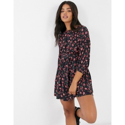 エイソス レディース ワンピース トップス ASOS DESIGN belted mini dress in black and red floral print