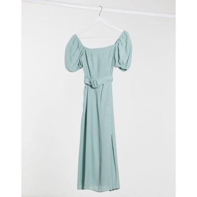 ニュールック ミディドレス レディース New Look square neck belted midi dress in sage エイソス ASOS カーキ