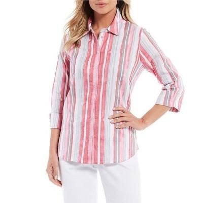アリソン デイリー レディース シャツ トップス Petite Size Watercolor Stripe Print 3/4 Sleeve Flip-Cuff Button Front Cotton Shirt