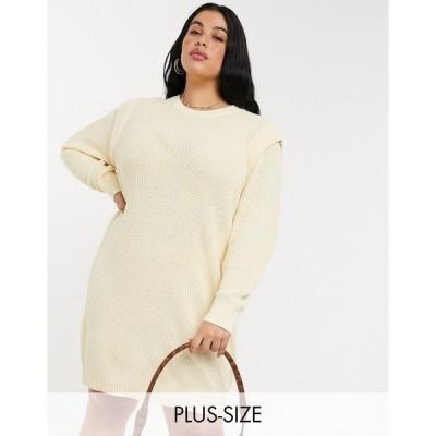 ノイジー メイ カーブ レディース ワンピース トップス Noisy May Curve knitted sweater dress with sleeve detail in cream Cream