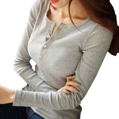 CHROME CRANE(クロム クレイン) ヘンリーネック 長袖 Tシャツ ロンT カットソー インナー レディース LC002 (01.
