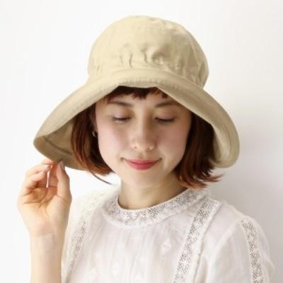 レディース UVカット帽子 ハット つば広 日よけ 春夏  帽子 無地 綿100% 女優帽 ゴム入り 撥水加
