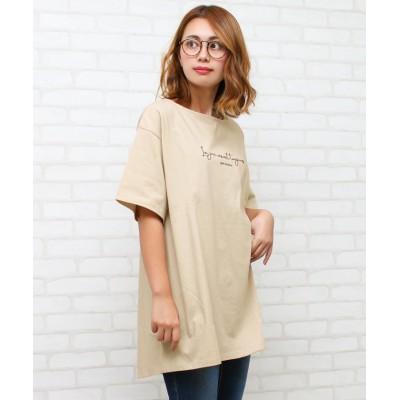 【ソーシャルガール】 ロゴ刺繍ベルト付きチュニックTシャツ レディース ベージュ M SocialGIRL