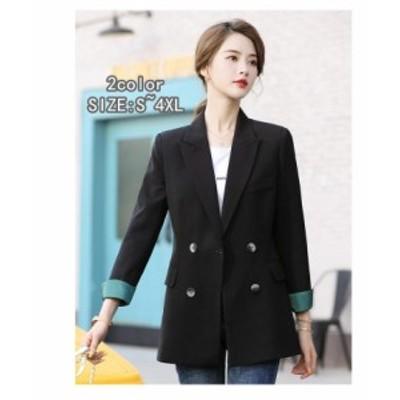 テーラードジャケット ダブルボタン レディース スーツジャケット 韓国風 40代 おしゃれ きれいめ 長袖 アウター 卒業式 面接 カジュアル