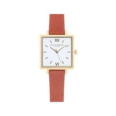 Olivia Burton オリビアバートン BIG SQUARE DIAL TAN ブラウン × ゴールド 30mm 女性 レディース 腕時計 レザー [並行輸入
