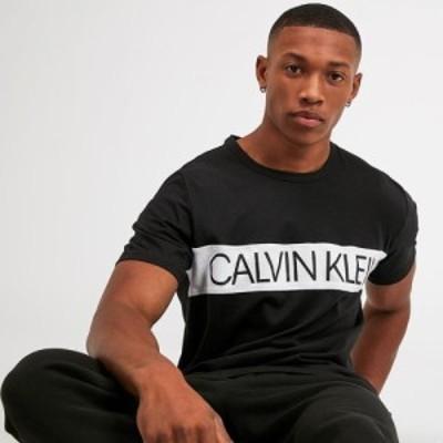 カルバンクライン Calvin Klein メンズ Tシャツ トップス Colour Blocked Logo T-Shirt Black/White