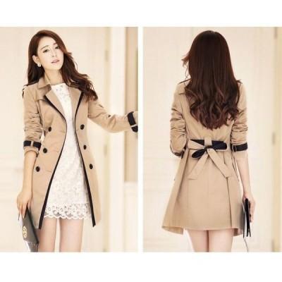トレンチコート 大きいサイズ トレンチ コート レディース アウター バイカラー スプリングコート Aラインコート 防寒