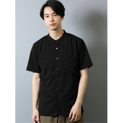 シャツ ブラウス タカキューメンズ/TAKA-Q:MEN  カットジョーゼット バンドカラー半袖シャツ