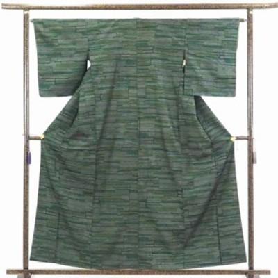 【中古】リサイクル着物 紬 / 正絹グリーン地先染袷真綿紬着物 / レディース【裄Mサイズ】