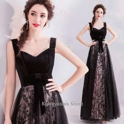 ブラックパーティードレスベロアベルベットドッキングキレイめイブニングドレス黒刺繍20代30代二次会ドレスキャミAライン