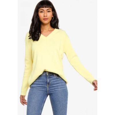 ザローラ ZALORA BASICS レディース ニット・セーター Vネック トップス V Neck Oversized Sweater Pale Yellow