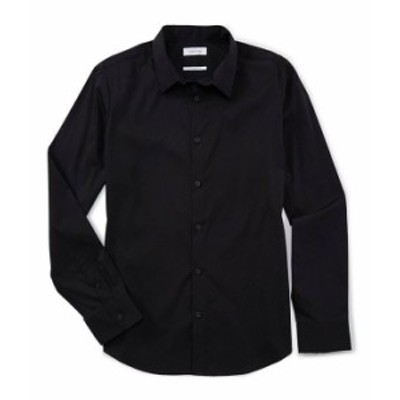 カルバンクライン メンズ シャツ トップス Slim-Fit Solid Stretch Long-Sleeve Woven Shirt Black