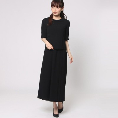 ブラックギャラリー BLACK GALLERY ワイドパンツの夏フォーマルスーツ (ブラック) [ブラックフォーマル 夏用 喪服 礼服]