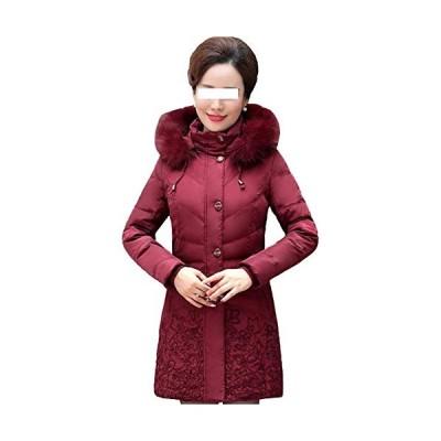 新品 Dotoo Middle-Aged 70% White Duck Down Jacket Women's Long Winter Coat Thick Coat Red Wine L