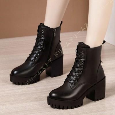 編み上げブーツ ミディアムブーツ ショートブーツ 厚底 25cm 黒 レースアップブーツ ミドルブーツ ハイヒール 歩きやすい レディース靴 小さいサイズ コスプレ