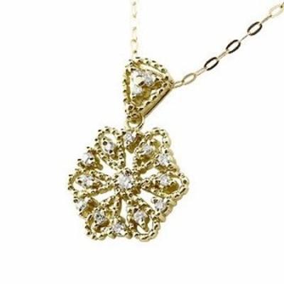 雪の結晶 ネックレス ダイヤモンド イエローゴールドk18 ダイヤ スノーモチーフ ミル打ち 18金 レディース チェーン 人気 女性 送料無料