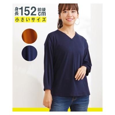 Tシャツ カットソー 小さいサイズ レディース 9分袖前タック Vネック トップス  P1/P2 ニッセン