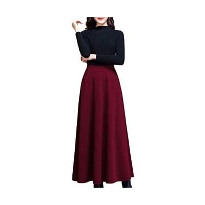 [アズルテ] ロング スカート レディース 無地 ミモレ丈 大きいサイズ L〜3XL (レッド XL)