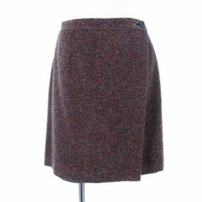 【中古】アンバー Amber スカート ひざ丈 ラップスカート ウール混 ツイード調 オレンジ 水色 ネイビーM レディース