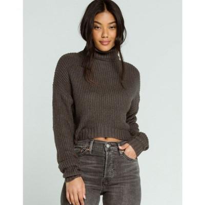 フルティルト FULL TILT レディース ニット・セーター トップス Basic Turtleneck Charcoal Crop Sweater CHARCOAL