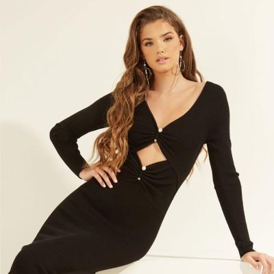 ゲス GUESS Pierced Gianna Ribbed Dress (JET BLACK)
