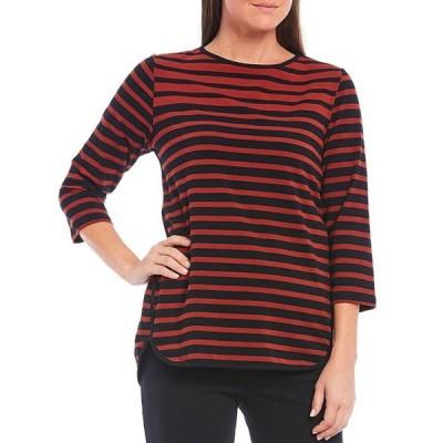 ルビーアールディー レディース Tシャツ トップス Yarn-Dye Striped Crew Neck 3/4 Sleeve Hi-Low Knit Top