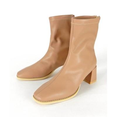 minia / スクエアトゥタイトショートブーツ ◆ WOMEN シューズ > ブーツ