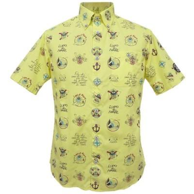50%OFF 春夏 シナコバ キャプテン総柄 半袖ボタンダウンシャツ(レモンイエロー)(M、L、LL) SH*0119124540520