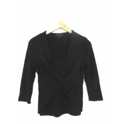 【中古】アンタイトル UNTITLED カットソー ニット 七分袖 2 黒 ブラック /YT6 レディース
