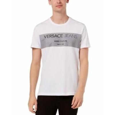 Versace ヴェルサーチ ファッション トップス Versace Jeans Mens T-Shirt White Size 2XL Logo Crewneck Graphic Tee