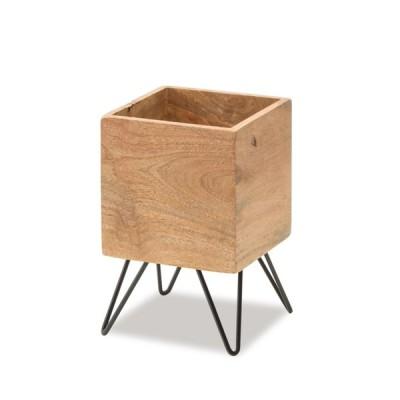 キューブポットスタンドソリッド 鉢カバー 4号鉢収納可能 ウッド 四角 スクエア 木製 植木鉢 観葉植物 金属 ナチュラル プランター