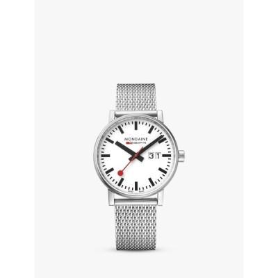 モンダイン 腕時計 レディース アクセサリー Mondaine MSE.40210.SM Unisex Evo 2 Date Mesh Bracelet Strap Watch, Silver/White