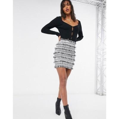 エイソス ASOS DESIGN レディース ミニスカート スカート Mini Skirt In Textured Mono Boucle マルチカラー