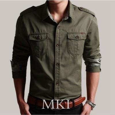 2020新作 4色 メンズ シャツ 長袖シャツ ワークシャツ カジュアルシャツ ミリタリーシャツ 開襟 トップス お兄系 M-5XL