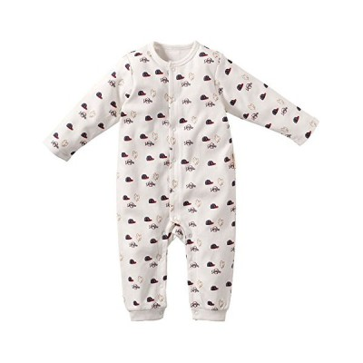 Baby nest ベビー服 男の子 ロンパース カバーオール 前開き 長袖 野球帽柄 コットン100% ホワイト 9-12M