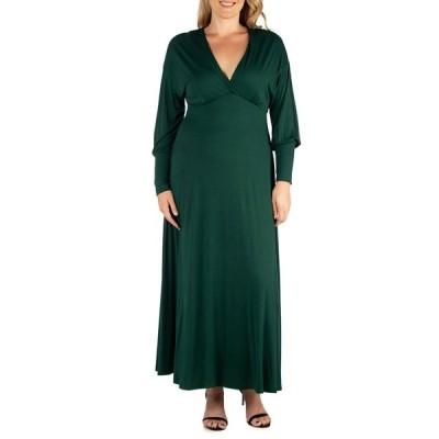 24セブンコンフォート ワンピース トップス レディース Women's Plus Size Bishop Sleeves Maxi Dress Green