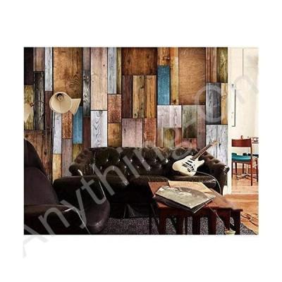 新品 hwhz 3D Mural Wallpaper peelable Custom Wallpaper 3D Stereo Mural Retro European and Fashion Wood Tv Background Wall Paper 3D -120X100Cm並