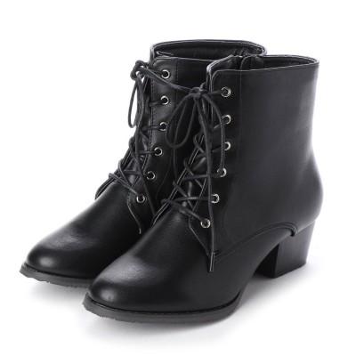 マシュガール masyugirl 【3E/幅広ゆったり・大きいサイズの靴】 シンプルレースアップブーツ (ブラック) SOROTTO