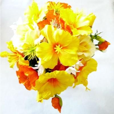 アートフラワー〔造花〕ブーケ/ハイビスカスコロニアルブーケ・ヘッドドレス・ブートニア付き